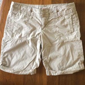 LN Khaki Button Tab Cuffed Shorts